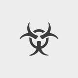 Icona del segno di simbolo di rischio biologico in una progettazione piana nel colore nero Illustrazione EPS10 di vettore illustrazione di stock