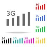 icona del segno 3G Simbolo mobile di tecnologia di telecomunicazioni Elementi nelle multi icone colorate per i apps mobili di web Fotografie Stock Libere da Diritti