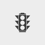 Icona del semaforo in una progettazione piana nel colore nero Illustrazione EPS10 di vettore Fotografia Stock