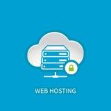 Icona del server di web hosting con la computazione di stoccaggio della nuvola di Internet Immagini Stock Libere da Diritti