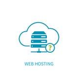 Icona del server di web hosting con la computazione di stoccaggio della nuvola di Internet Immagine Stock Libera da Diritti