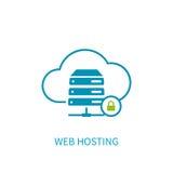 Icona del server di web hosting con stoccaggio della nuvola di Internet che computa Ne Fotografia Stock Libera da Diritti