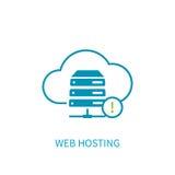 Icona del server di web hosting con stoccaggio della nuvola di Internet che computa Ne Immagini Stock