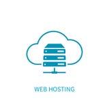 Icona del server di web hosting con stoccaggio della nuvola di Internet che computa Ne Fotografie Stock Libere da Diritti