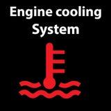 Icona del sistema di raffreddamento del motore Segnali di pericolo del cruscotto Fotografia Stock