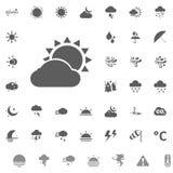Icona del sole e della nuvola Icone di vettore del tempo messe Immagini Stock Libere da Diritti