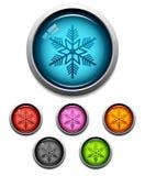 Icona del tasto del fiocco di neve Fotografia Stock