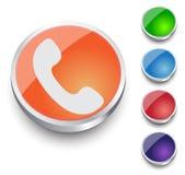 Icona del telefono sul bottone Immagine Stock