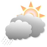 Icona del tempo del sole e della pioggia Immagini Stock
