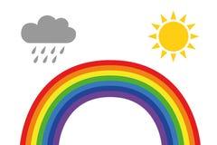 Icona del tempo dell'arcobaleno con la nuvola ed il sole di pioggia isolati su fondo bianco illustrazione di stock