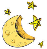 Icona del tempo delle stelle e della luna Immagini Stock Libere da Diritti