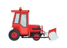 Icona del trattore della neve nello stile piano isolata su bianco immagine stock libera da diritti