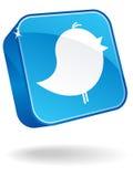 icona del Twitter 3D Immagine Stock