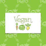 Icona del vegano e concetto di logo in una linea stile di arte Fotografia Stock