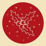 Icona del vischio di Natale nella linea stile sottile Fotografia Stock