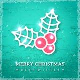 Icona del vischio di Natale sul fondo strutturato del turchese Fotografia Stock Libera da Diritti