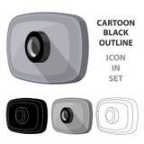 Icona del webcam nello stile del fumetto isolata su fondo bianco Vettore con computer personale delle azione di simbolo degli acc Fotografia Stock Libera da Diritti