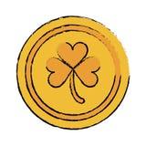 Icona dell'acetosella della moneta di oro di giorno di San Patrizio del fumetto Fotografie Stock