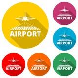Icona dell'aeroporto o logo, aeroplano sulla pista, insieme di colore con ombra lunga royalty illustrazione gratis