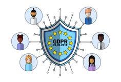 Icona dell'agente del supporto dello scudo di sicurezza di dati sopra la guardia giurata generale del server di regolamento GDPR  illustrazione di stock