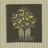 Icona dell'albero, decorativa, illustrazione di disegno a mano libera Fotografia Stock
