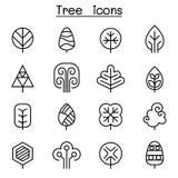 Icona dell'albero messa nella linea stile sottile illustrazione vettoriale