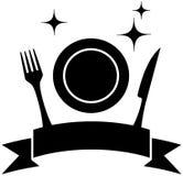 Icona dell'alimento con il piatto e l'utensile della cucina Immagine Stock