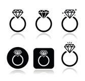 Icona dell'anello di fidanzamento del diamante Fotografie Stock Libere da Diritti