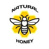 Icona dell'ape Logo naturale del pacchetto del miele Fotografie Stock Libere da Diritti