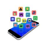 Icona dell'applicazione variopinta sullo smartphone, illustrazione del telefono cellulare Immagini Stock
