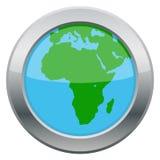 Icona dell'argento della mappa dell'Africa Immagini Stock Libere da Diritti