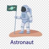 Icona dell'astronauta, stile piano illustrazione di stock