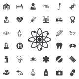 Icona dell'atomo Illustrazione di vettore, simbolo di scienza Immagini Stock Libere da Diritti