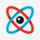 Icona dell'atomo, simbolo di scienza Fotografia Stock