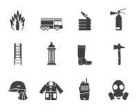 Icona dell'attrezzatura della fuoco-brigata e del vigile del fuoco della siluetta Fotografia Stock Libera da Diritti