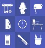Icona dell'attrezzatura di famiglia messa nello stile piano illustrazione di stock