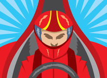 Icona dell'autista di macchina da corsa Fotografie Stock Libere da Diritti