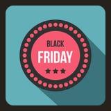 Icona dell'autoadesivo di Black Friday, stile piano Illustrazione di Stock