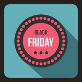 Icona dell'autoadesivo di Black Friday, stile piano Fotografie Stock