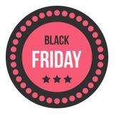 Icona dell'autoadesivo di vendita di Black Friday, stile piano Illustrazione di Stock