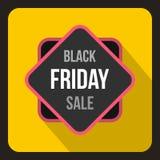Icona dell'autoadesivo di vendita di Black Friday, stile piano Fotografia Stock Libera da Diritti