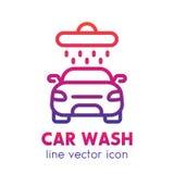 Icona dell'autolavaggio, elemento lineare di logo sopra bianco Immagini Stock Libere da Diritti