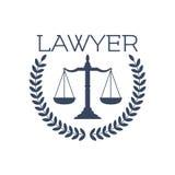 Icona dell'avvocato, scale della giustizia, emblema della corona dell'alloro Fotografia Stock Libera da Diritti
