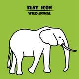 Icona dell'elefante Illustrazione animale piana isollated su fondo verde Illustrazione di vettore illustrazione vettoriale