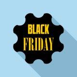 Icona dell'emblema di Black Friday, stile piano Immagine Stock