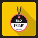 Icona dell'etichetta di vendita di Black Friday, stile piano Immagine Stock
