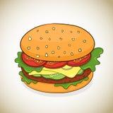 Icona dell'hamburger del fumetto di vettore Fotografia Stock Libera da Diritti