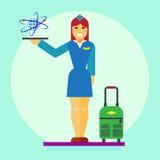 Icona dell'hostess piana Fotografie Stock