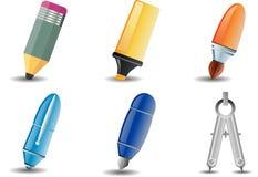 Icona dell'illustrazione e di scrittura Immagini Stock