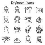 Icona dell'ingegnere messa nella linea stile sottile royalty illustrazione gratis